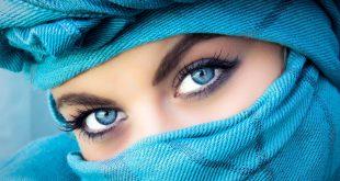 إمرأة عربية جميلة ذات عينين زرقاوين
